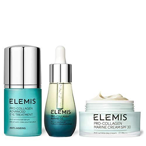 Elemis Pro-Collagen Timeless Trio, Nourishing Anti-Wrinkle Face Creams, Pro-Collagen Marine Face and Eye Cream Set to…