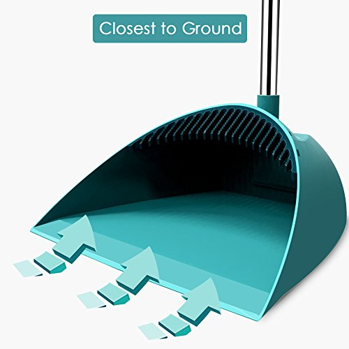 SUPERJARE Broom and Dustpan Set, Lengthened Upright Grips Sweep Combo, 180° Rotation Broom for Home & Office - Green by SUPERJARE (Image #6)