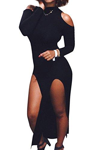La Mujer Casual Cuello Alto Split Frio Embudo Hombro Vestido Bodycon MIDI negro