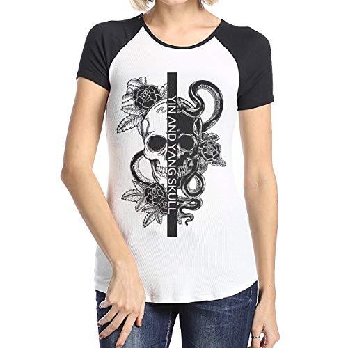 MiiyarHome Women's Short Sleeve Baseball T-Shirts Tattoo Designs Yin Yang Symbol, Girls RaglanSleeves Jersey Tee Shirt Black M ()