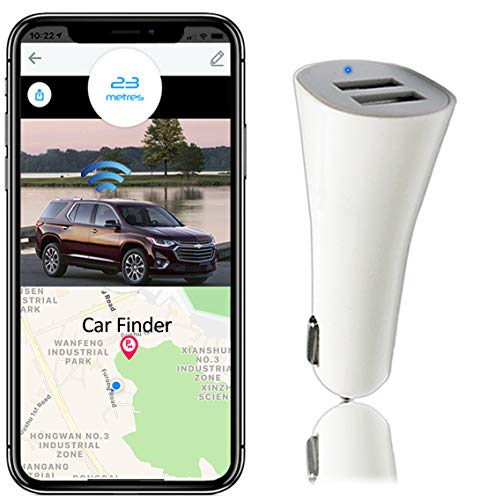 Dual USB Car Charger with Locator, FOONCH Bluetooth Car Finder Smart Fast Car Charger with App Control Compatiable with iPhone Xs/XS Max/XR/X / 8/7 / 6 / Plus, iPad Pro/Air 2 / Mini, and More(White)