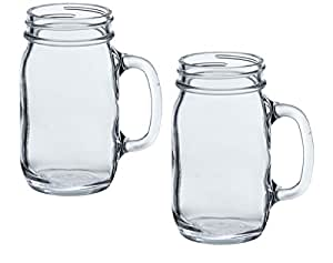 Anchor Hocking Glass Canning Mason Jar Mug with Handle for Tea and Root Beer Floats, 16oz (Pack of 2)