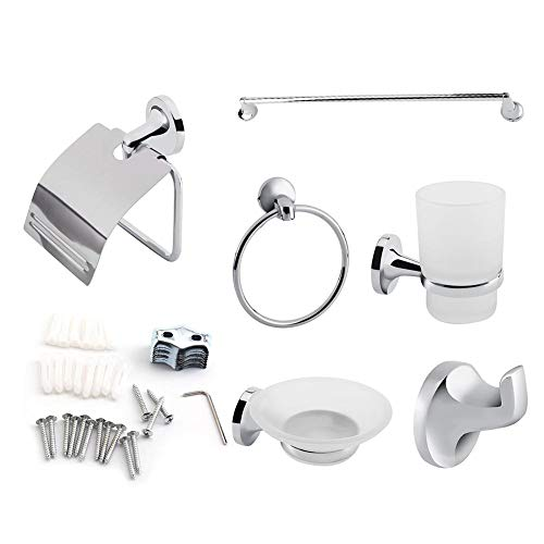 Bathroom Toilet Accessory, Wall Mounted Towel Rack Ring Toothbrush Soap Paper Holder Organizer Stand