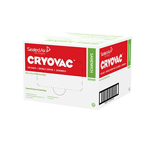 CRYOVAC Resealable Sandwich Bags, BPA Free - Professional Pack (500 Bags) -