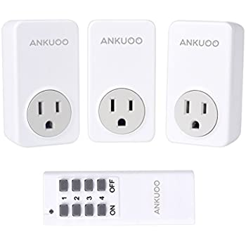 Ankuoo REC 1800W 15 Amp Wireless Remote Control Electrical Outlet ...
