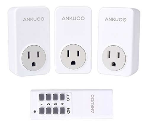 15a Remote (Ankuoo REC 1800W 15 Amp Wireless Remote Control Electrical Outlet Switch with LED Indicator, White)