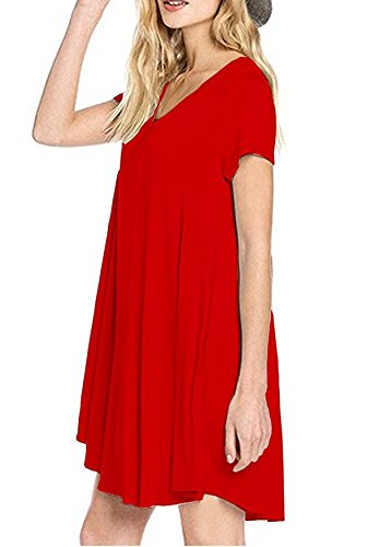 Donne Camicia Vestito Abito Corti Estivi Eleganti Vintage Mare Linea Ad A Vestitini Manica Corta V Neck Tasca Casual Sciolto Puro Colore Vestiti rossi