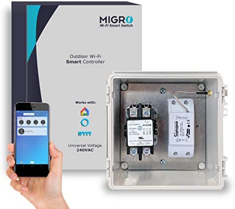 Migro Outdoor Smart Wi-Fi Outlet Box, Heavy Duty 50A Resistive 240VAC 40A 10HP Pool Heater, Wireless Pump Control, Timer Switch, Compatible with Smart Phone, Alexa, Google Home, IFTTT UL Listed