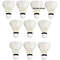 Pathak Online Badminton Playing Feather Shuttlecock || White || Pack of 10||
