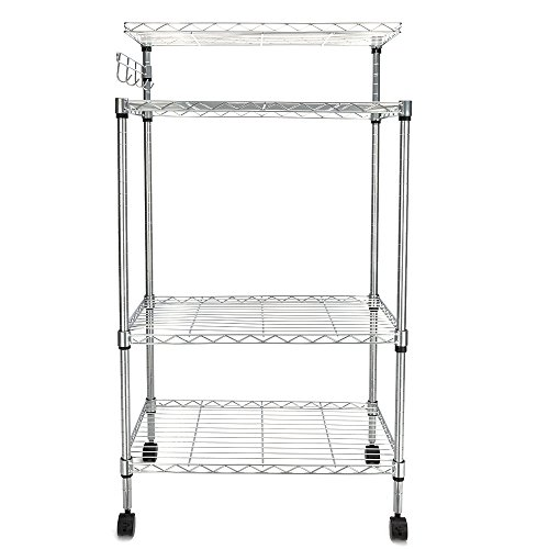 FCH Bakers Rack 3 Tiers Adjustable Storage Rack with 4 Hooks Kitchen Storage Cart on Wheels by FCH