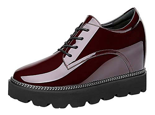 T&Mates Womens Trendy Casual Lace-Up Round Toe Platform Hidden Wedge Glazed PU Oxford Shoes (6 B(M)US,WineRed)