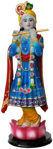 Beautiful Blue Lord Krishna Hindu God Idol