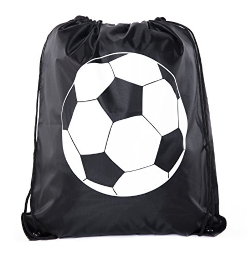 Soccer Party Favors | Soccer Drawstring Backpacks for Birthday Parties, Team events, and much more! - 3PK Black CA2500SOCCER ()