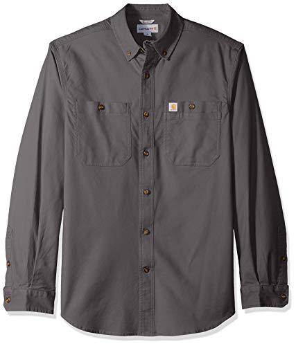 Carhartt Men's Rugged Flex Rigby Long Sleeve Work Shirt (Regular and Big & Tall Sizes), 039-Gravel, X-Large