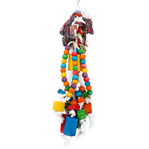Segarty Bird Chew Toys for Parrot, Wooden Blocks Bird Toy with Cotton Ropes, Pet Bird Cage Accessories Toys for African…