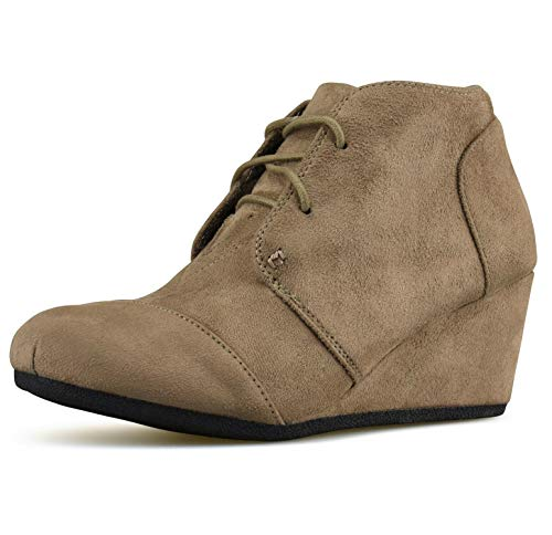 Forever Link Women's Lace up Hidden Wedge Ankle Bootie Round Toe Faux Suede, Taupe, 7.5