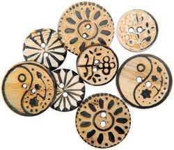 Vision Trims Handmade Bone Buttons 8/Pkg-Circles Carved Designs