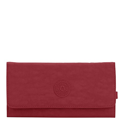 Kipling New Teddi Continental Wallet, Snap Closure, Brick Red by Kipling