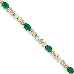 14K Diamond and Emerald Bracelet, Diamond Cttw 0.21, Gem Cttw 4
