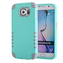 Galaxy S6 Case, Pandawell™ 3-piece 3 in 1 Combo Hybrid Defender High Impact Body Armor Hard PC & Silicone Rubber Case Protective Cover for Samsung Galaxy S6 G920 with Screen Protector & Stylus (3 piece-Mint Green/Grey)