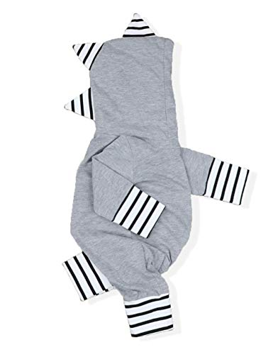 Toddler Baby Boy Clothes Newborn Dinosaur Onesie Long Stripe Sleeve Pajamas Hoodie Romper Jumpsuit Outfit(9-12m) Grey (Hooded Baby Jumper)