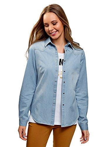 In Camicia A Pressione Con Ultra 7000w Blu Jeans Donna Bottoni Oodji a4tqwSES