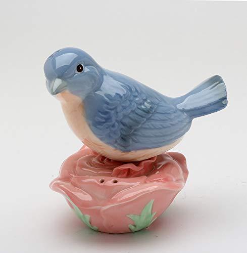 (Fine Porcelain Hand Painted Bluebird Blue Bird on Pink Rose Flower Salt & Pepper Shakers Set, 4-1/4