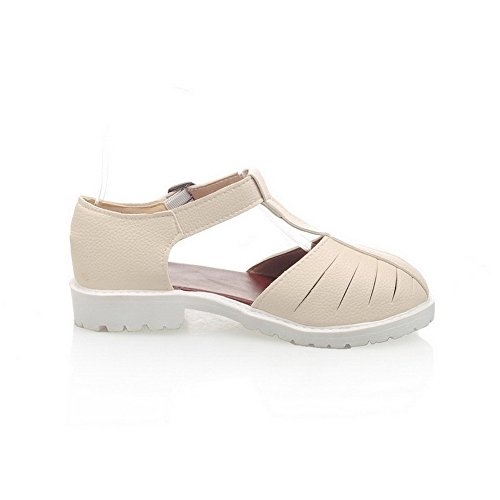 Women's Toe apricot Closed Buckle Material Solid Sandals Soft AllhqFashion Low heels dwdqa8