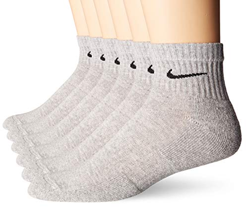 NIKE Unisex Everyday Cushion Quarter 6 Pair Band, Dark Grey Heather/Black, -