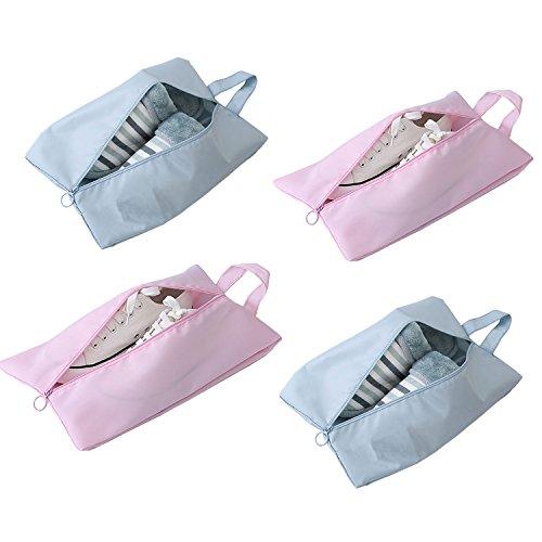 Ailzos Portable Travel Shoe Bags,Durable Versatile Organizers Bags Dust proof Shoe Pouch for Men Women 4 Pack,Pink&Pale blue by Ailzos