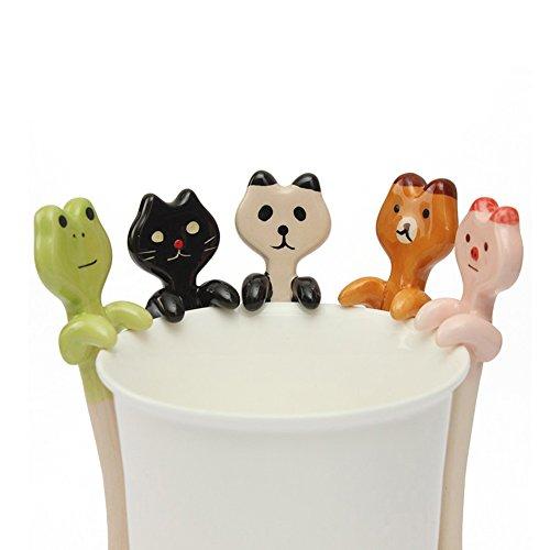 Cute Children Handing Ceramic Coffee Tea Cartoon Animal Spoon Kids Rest Kitchen Gift Black Cat