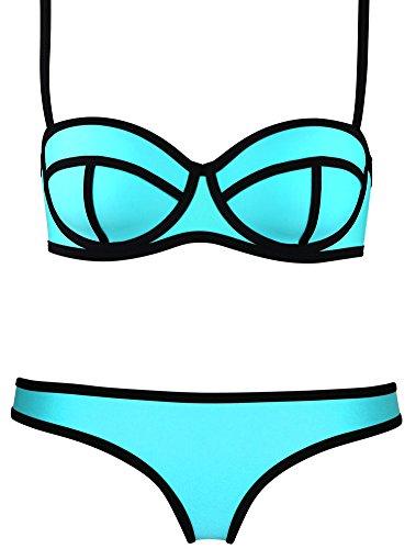 TDOLAH Damen Diving Suit Tauchanzug Badeanzüge Bandeau mit Reißverschluss vorne Bikini-sets (L (EUR36-38), Basketball Blau)