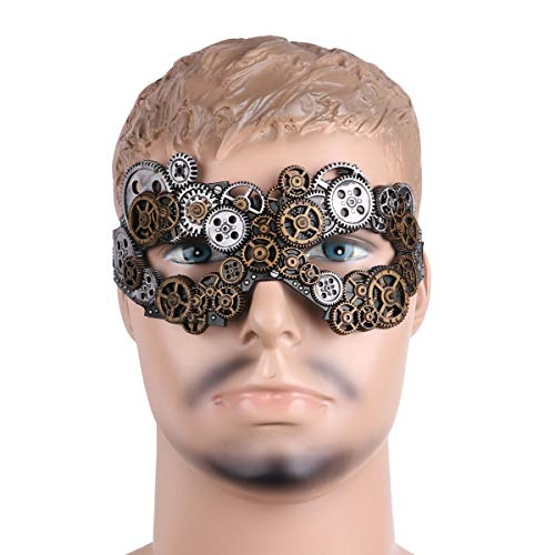 CHICTRY Steampunk Gears Eye Mask Venetian Masquerade Ball Half Face Mask for Halloween Carnival Party Costume Accessory Antique Silver One -