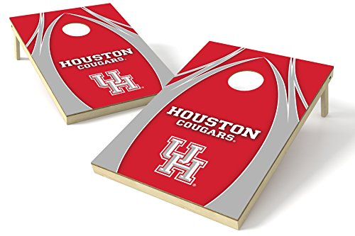 NCAA College Houston Cougars 2 x 3 Platinum College V Logo Wood Tailgate Toss, 24'' x 36'', Multi by Wild Sports