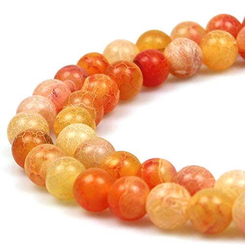 JARTC Natural Orange Frosted Agate Round Stone Beads for Jewelry Making DIY Bracelets Necklaces (6mm)