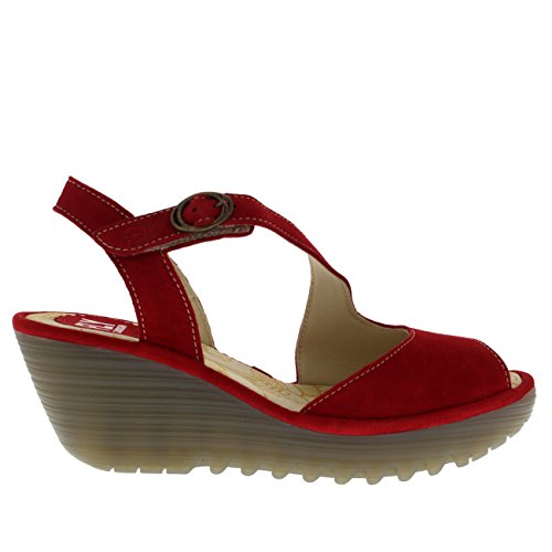 Womens Fly London Yamp Leather Peep Toe Wedge Heel Summer Cut Out Sandals Lipstick Red Ep05jd7Gw