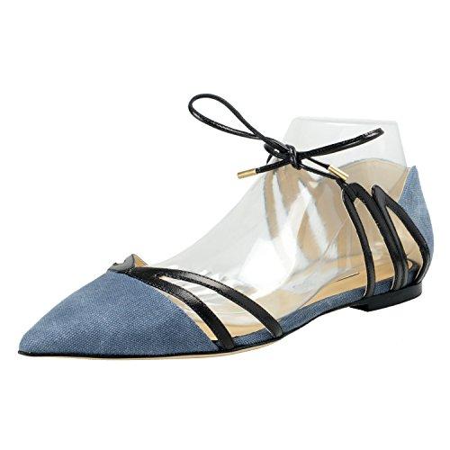 JIMMY CHOO Women's HIME Denim & Leather Baletts Flats Shoes US 9.5 IT 39.5 Blue