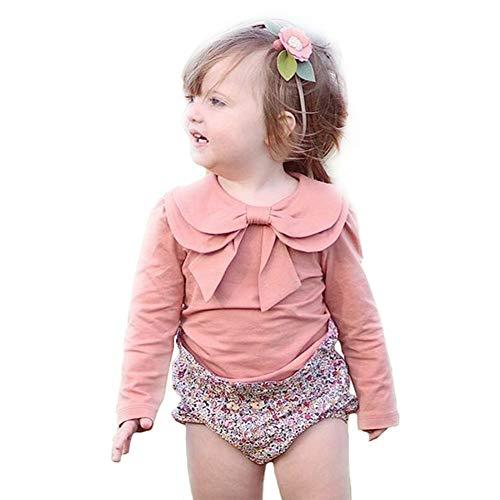 Toddler Kids Baby Girl Cute Bowknot Peter Pan Collar Long Sleeve Basic Plain T-Shirt Tops Clothes (2-3 Years, Pink)