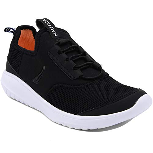 Nautica Women Fashion Slip-On Sneaker Jogger Comfort Running Shoes-Propeller-Black Mesh-9.5