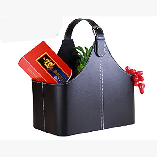 Leather Gift Basket,Magazine Newspaper Holder/Racks,Storage Organizer for Wine Flowers Fruits Candys,for holiday presents Christmas display (Holiday Wine Basket)
