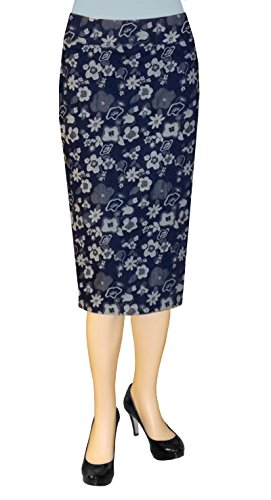 Baby'O Clothing Co. Below the Knee Stretch Denim Floral Jacquard Pencil Skirt (Floral Jacquard Skirt)