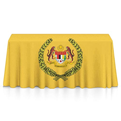 NiYoung Flag of The Supreme Head of Malaysia Rectangular Table Cloth Polyester Dust-Proof Wrinkle Free Tablecovers - Home Table Decor, Celebrations, Outdoor Party - Table Toppers -