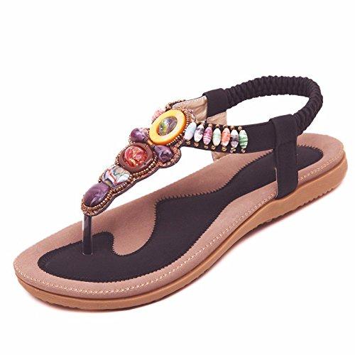 GTVERNH-Schwarze Sohle Sandalen Dekorativen Flachem Absatz Sandalen Locker Und Niedrig - Schuhe Reine Farbe Pinch Schuhe