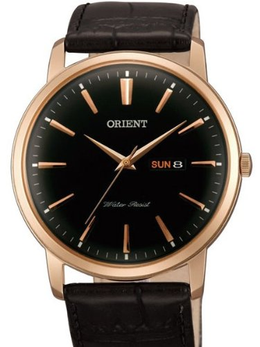 Orient Capital Quartz Rose Goldtone Dress Watch with Day and Date UG1R004B