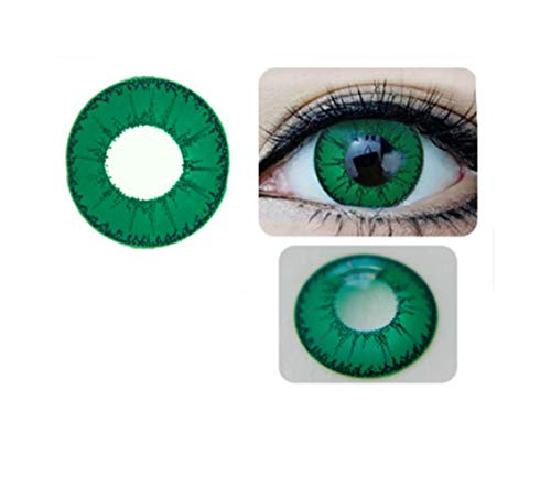 Luckygoo SAFE Women Multi-Color Cute Charm and Attractive Fashion Galaxy Contact Lenses Halloween Cosplay Makeup Eye Shadow Carnival Cosmetic Coloured Fancy Dress Eye Wear Accessory with Contact Lens Case (Little Devil Green) -