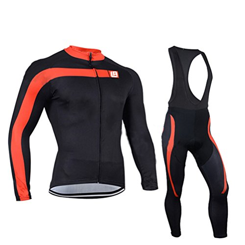 [Men's Cycling Long Sleeve Zip With 4D-Padded Breathable Cool Quick Dry Jersey Suit Cloth Winter Set] (National Costume Of India Images)