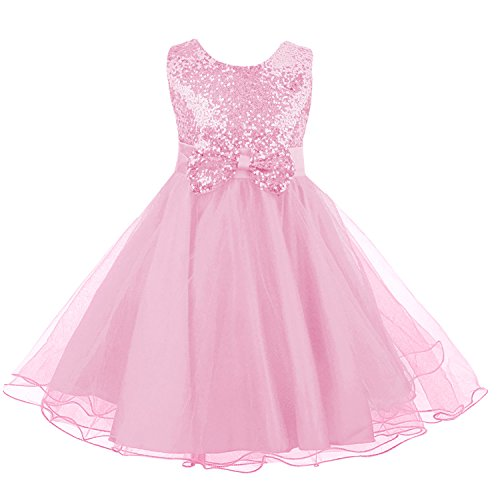 (Sequin Dress for Girl, Acecharming Knee Length Sleeveless Bow-knot Design Wedding Fancy Party Tulle Dress,Pink,Size 12 Suitable for 8-9 years old)