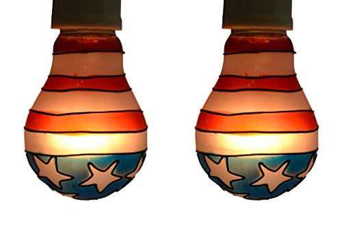 - LuminAir 25-Watt Tiffany-style Light Bulbs, 2-pack, US Flag design, Buy 3 get 1 FREE