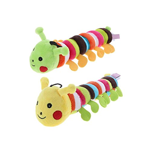 Stock Show 2Pcs 11 Inch Cute Colorful Caterpillar Doll Small Squeak Squeaker Squeaky Tooth Cleaning Stuffed Molar Toy for Small Medium Dog/Puppy/Pup/Cat/Kitty, Green Head + Yellow Head