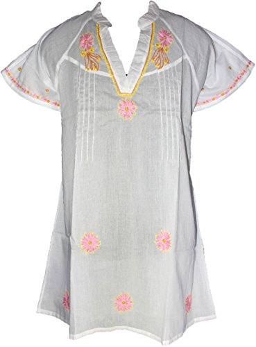 Yoga Womens Casual 3/4 Sleeve Floral Embroidered Mexican Peasant Dressy Tops Blouses Shirt Dress Tunic 3403 Pink/White ()